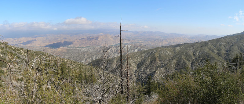 Panorama view north over Mill Canyon from the PCT, with Moody Canyon Road on the far right