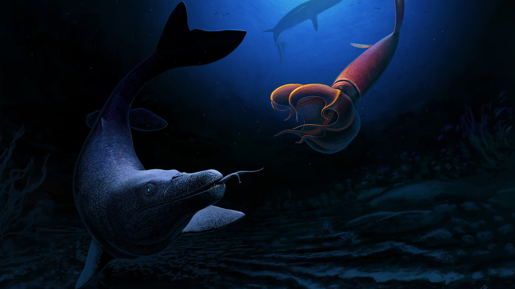 Illustration of a giant sea lizard swimming past a giant squid