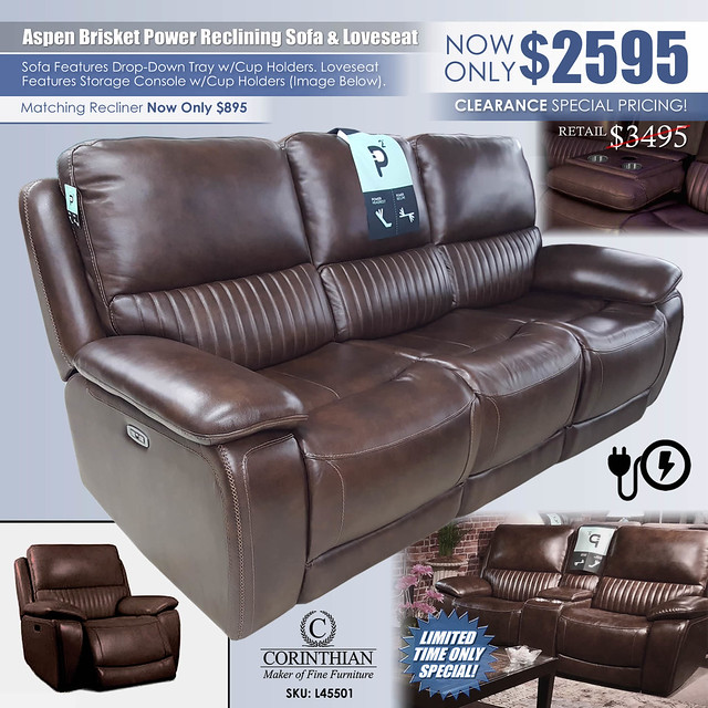 Aspen Brisket Power Sofa & Loveseat by Corinthian L4550_2021_Updated
