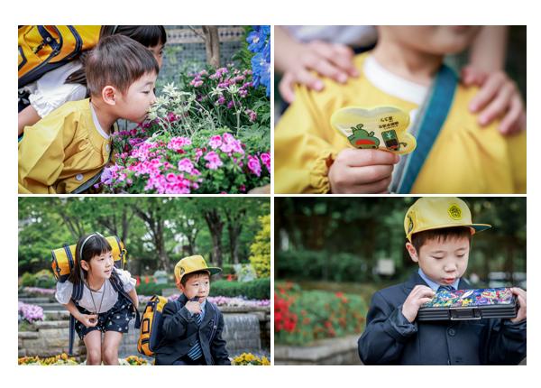 入学・入園記念のロケーション撮影 真新しい筆箱を嬉しそうに見る男の子