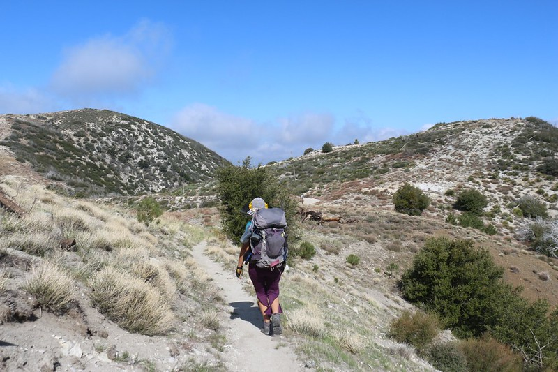 The PCT intersected Santa Clara Divide Road at a saddle, and it was very windy