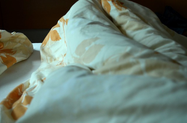 Hotel Bed Sheets at Small Inn in August