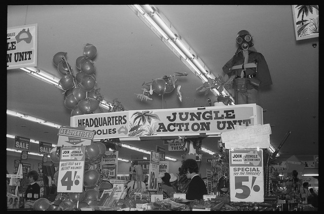 'Jungle Action' toy display, Woolworth's, Sydney, 1965, The Tribune