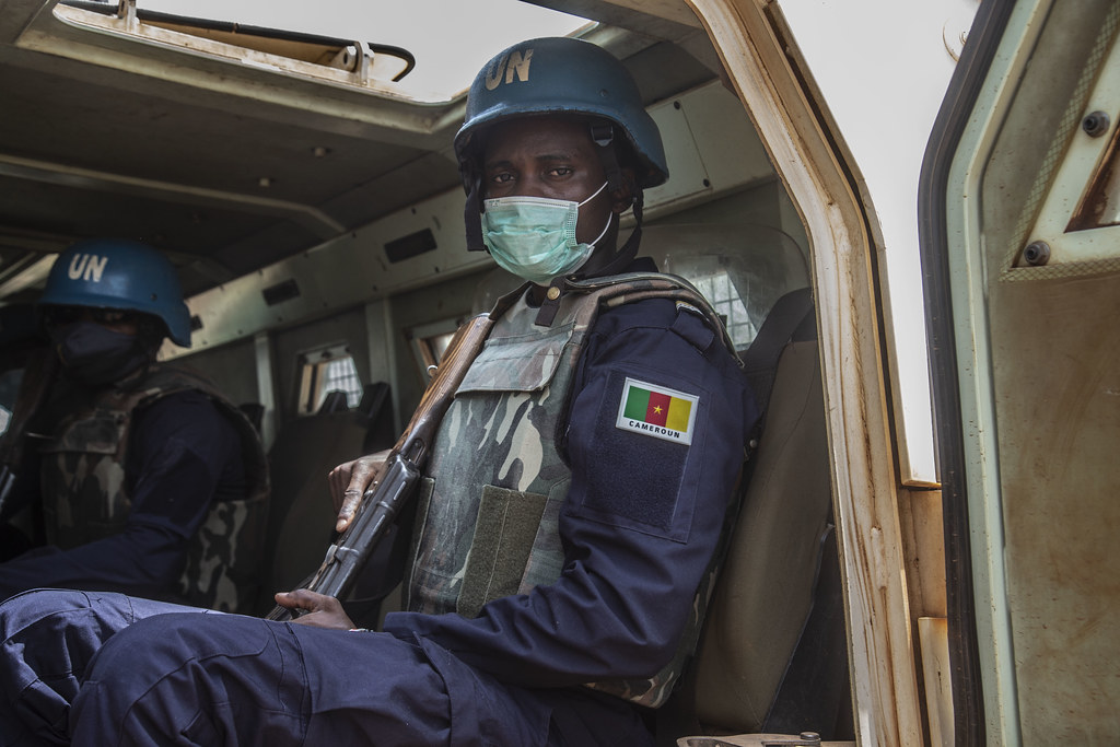 Cristopher Ojong Ekuh (24) from Cameroon serves as a police officer responsible for the maintenance of order at MINUSCA. (Photo: MINUSCA)