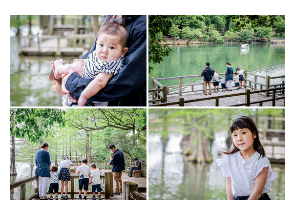 湖のほとりでファミリーフォト 愛知県で出張撮影