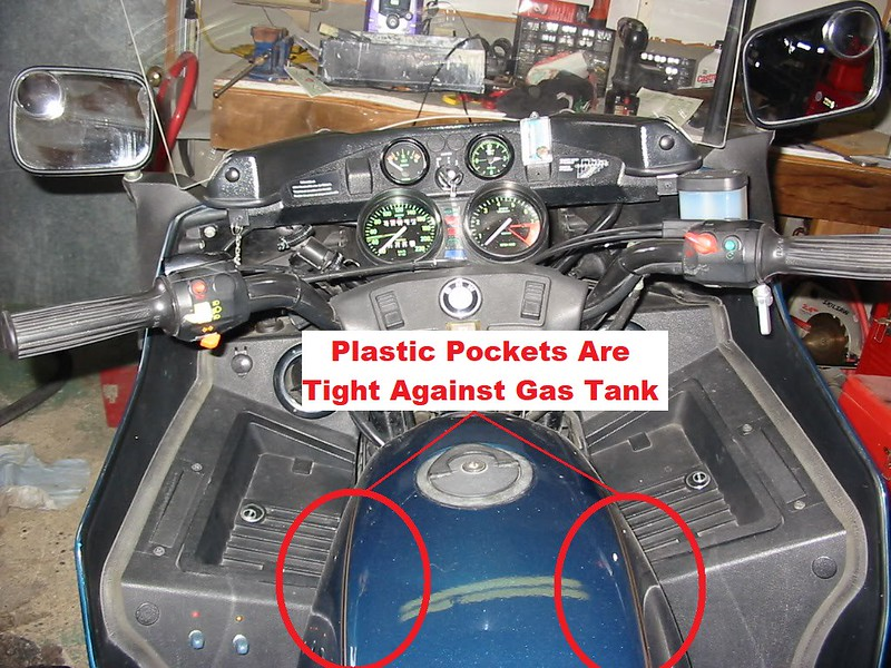 R100RT Fairing Interior View Showing How Close Plastic Pockets Are To Gas Tank