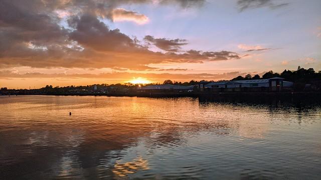 Recent setting Sun at Preston Docks