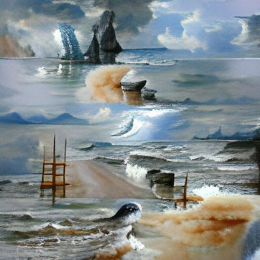 'seascape painting' VQGAN+CLIP z-quantize Text-to-Image