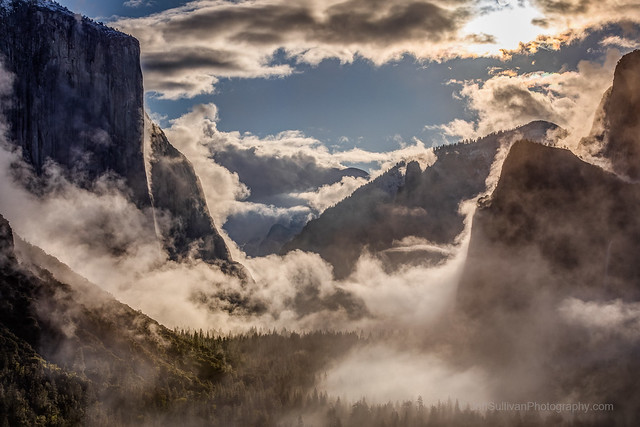 Iridescent Clouds Over Misty Yosemite Valley