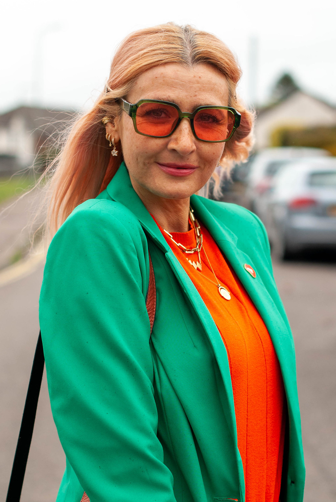Orange and Green and My Favourite Jeans: Not Dressed As Lamb AKA Catherine Summers, Over 40 Style Blogger (green blazer, orange sweater, boyfriend jeans, orange strappy mules)