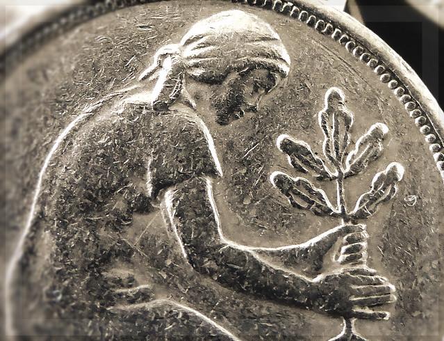 """CROP Münze, Coin: 50 Pfennig - Gerda Johanna """"Jo"""" Werner  - Durchmesser:  Soll: 20,00 mm, 2,0 cm"""