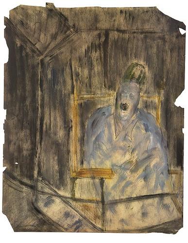 ④《Xアルバム9 裏─叫ぶ教皇》1950年代後半~60年代前半 油彩・コンテ・鉛筆、紙