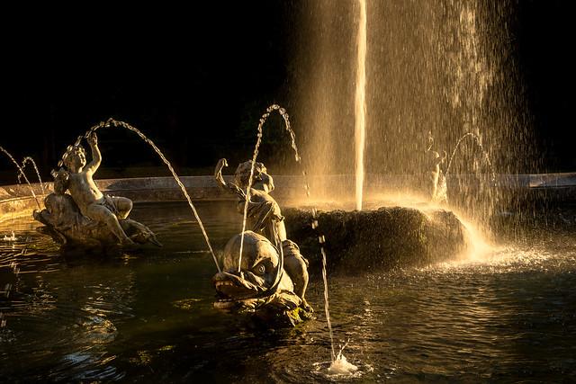 Fountain in sunset light