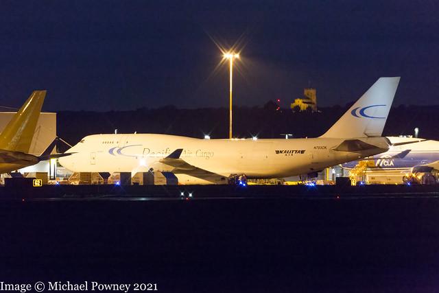N703CK - 1990 build Boeing B747-412BCF, making a first visit to East Midlands after dark