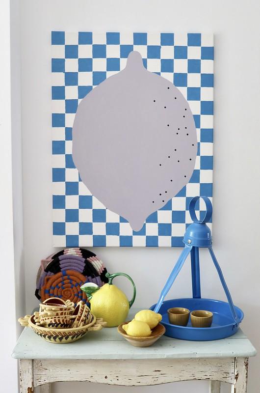 lemon on canvas - lilac on blue & white checks