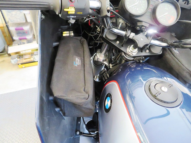 Bag Mounted On Inside of Fairing Leaving Clearance Next To Gas Tank