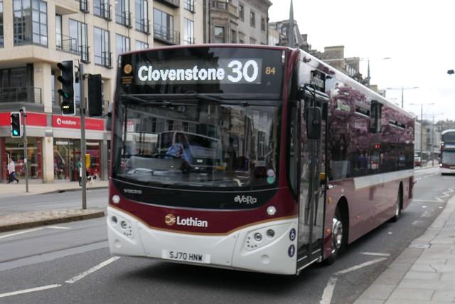 Lothian Volvo B8RLE MCV eVoRa SJ70HNW 84 operating service 30 to Clovenstone at Princes Street on 10 May 2021.