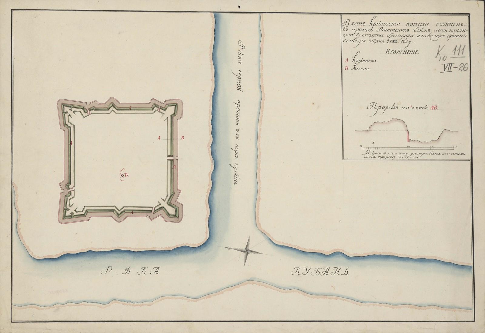План Крепости Копыла,сочинен. в проход Российских войск под командою господина брегадира и ковалера Брынка. Генваря 30-го дня 1777 году