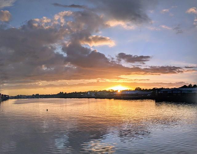 Preston Docks sunset reflections