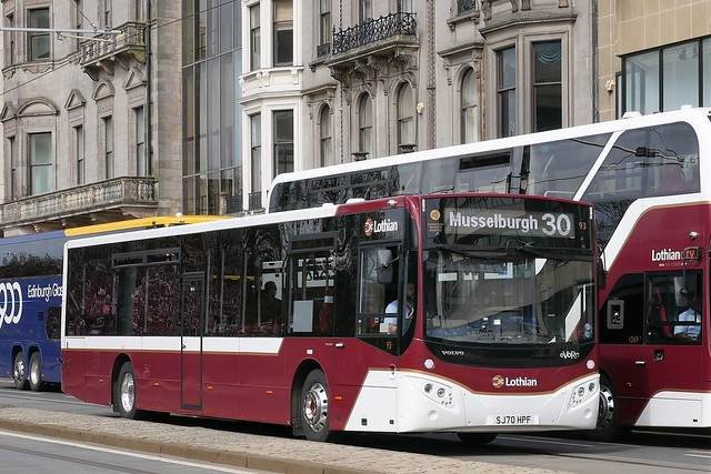 Lothian Volvo B8RLE MCV eVoRa SJ70HPF 93 operating service 30 to Musselburgh at Princes Street on 10 May 2021.