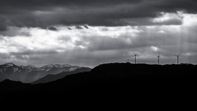 Lights on mountains