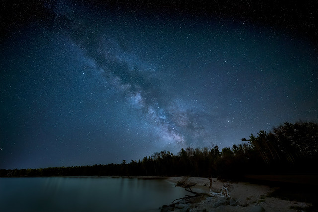The Milky Way over Lake Michigan at Wilderness State Park near Mackinaw City, Michigan
