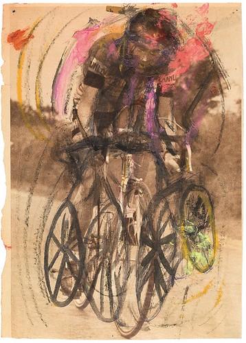 ⑥《自転車選手の写真上のドローイング》1970~80年代頃 モノクロ写真掲載紙へのグワッシュのペイント、コンテ、ペン