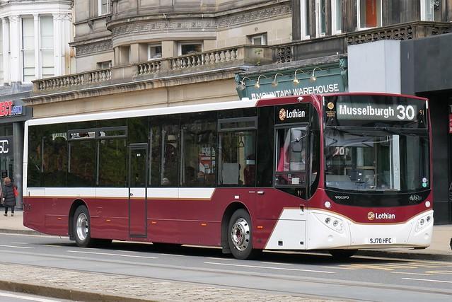 Lothian Volvo B8RLE MCV eVoRa SJ70HPC 91 operating service 30 to Musselburgh at Princes Street on 10 May 2021.