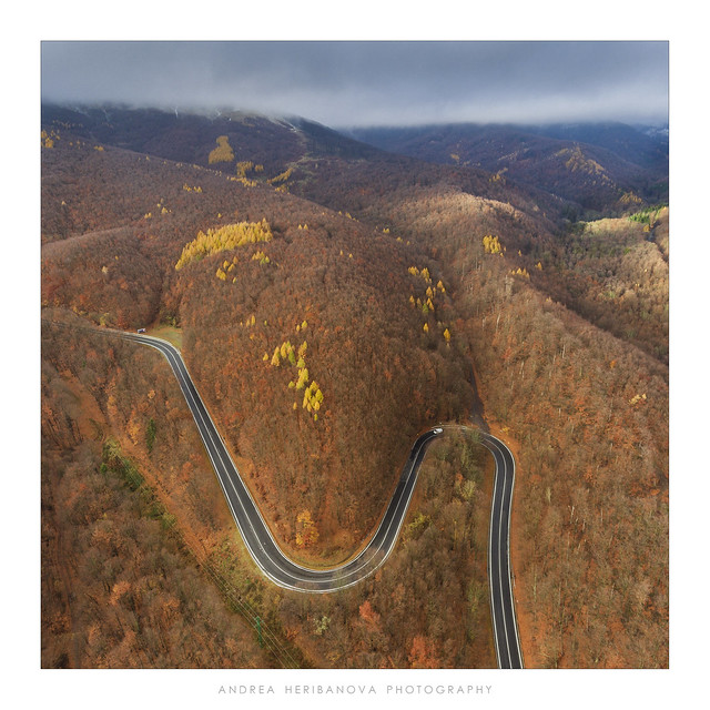 Drone shot of a road in Slovakia