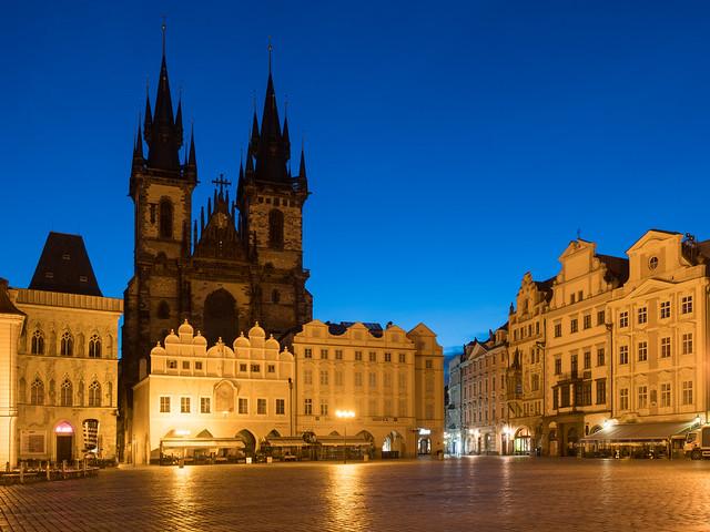 Blue hour at dawn in Prague