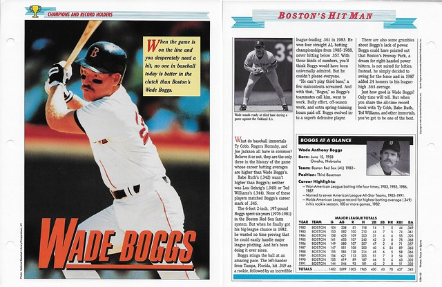 1989-91 Newfield Sports Pages - Champions and Record Holders - Boggs, Wade (stats though 1991)