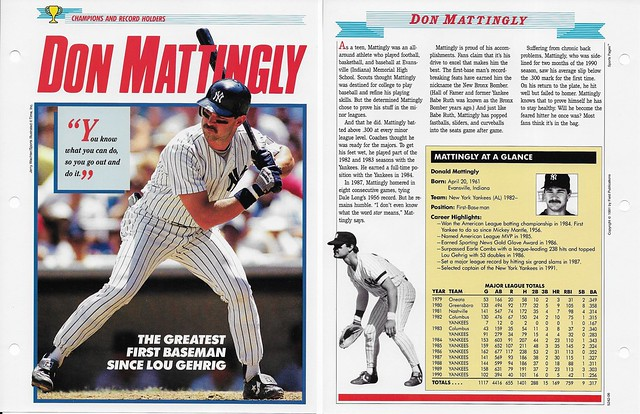 1989-91 Newfield Sports Pages - Champions and Record Holders - Mattingly, Don (stats through 1990)