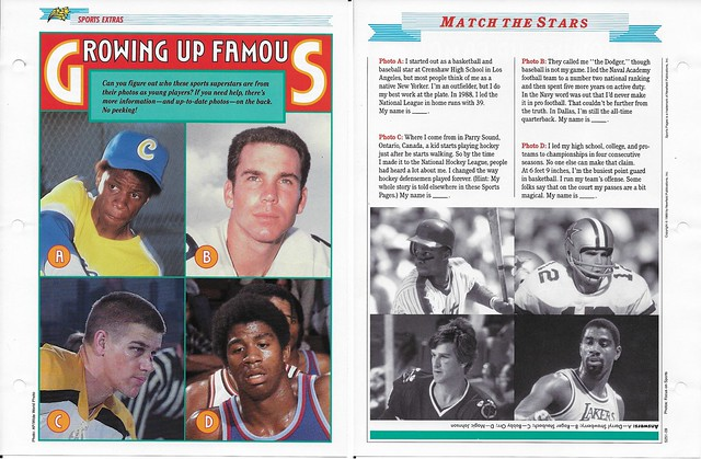 1989-91 Newfield Sports Pages - Sports Extras - Strawberry-Staubach-Orr-Magic