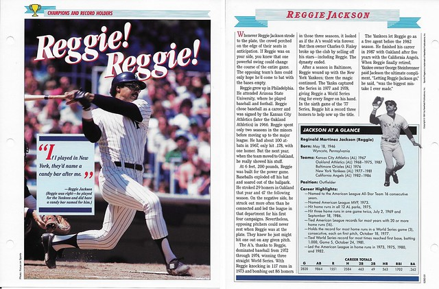 1989-91 Newfield Sports Pages - Champions and Record Holders - Jackson, Reggie