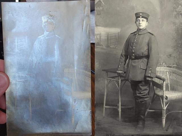 Before and after restoration - 5. Großherzoglich-Hessisches Infanterie-Regt. Nr.168 (Offenbach)
