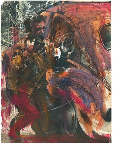 ⑧《フォルクスワーゲンの車と男の写真上のドローイング》1970~80年代頃 モノクロ写真掲載紙へのスクラッチとペイント