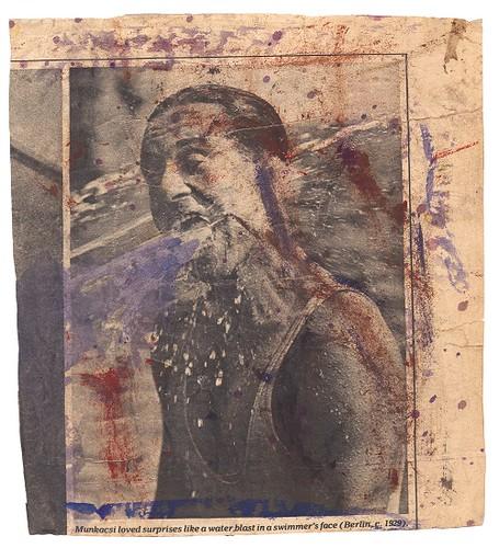 ⑦《水泳選手(1928年頃)の写真上のドローイング》1970~80年代頃 モノクロ写真掲載紙へのスクラッチとペイント