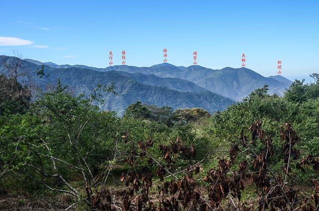 塔羅留農路梅園(H 1075 m)南望群山