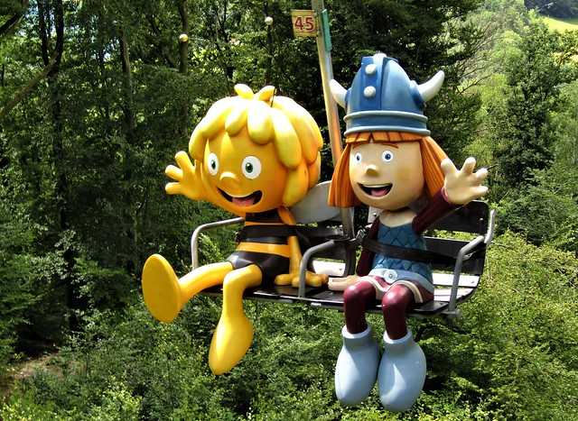 Chair lift in Plopsa Coo in the Belgian Ardennes with Maya the Bee and Vicky the Viking