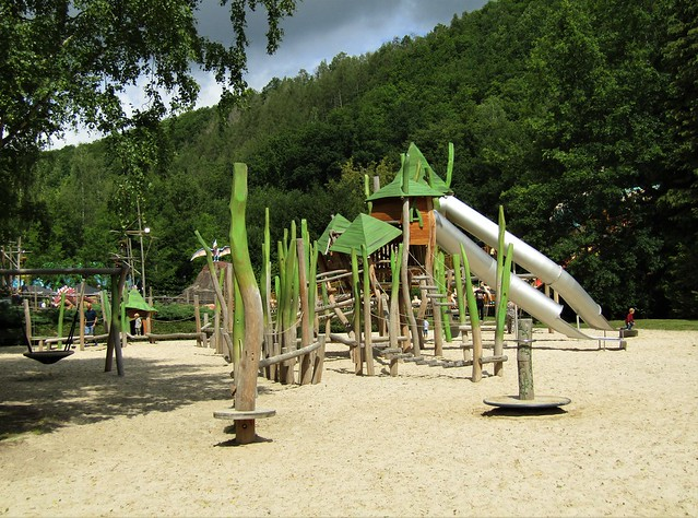 Playground in Plopsa Coo in the Belgian Ardennes