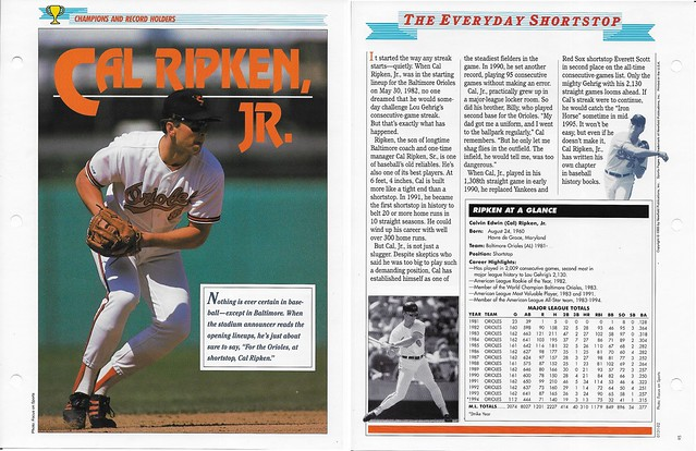 1995 Newfield Sports Pages - Champions and Record Holders - Ripken Jr, Cal