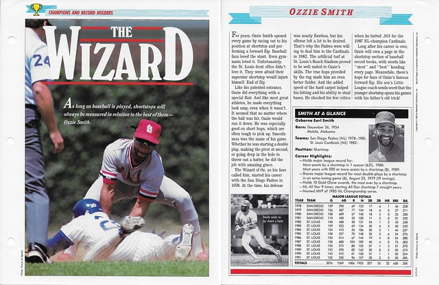 1989-91 Newfield Sports Pages - Champions and Record Holders - Smith, Ozzie (stats through 1991)