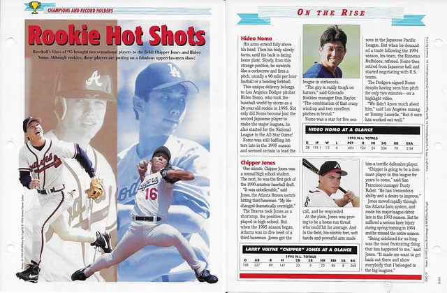 1996 Newfield Sports Pages - Champions and Record Holders - Jones, Chipper and Nomo, Hideo