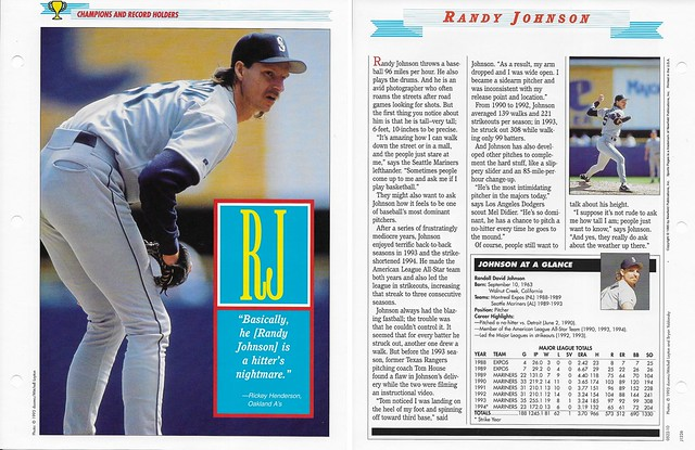 1995 Newfield Sports Pages - Champions and Record Holders - Johnson, Randy (J1226 variation)
