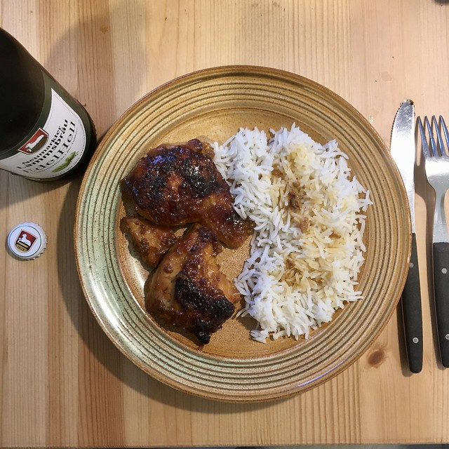 Sticky Chicken, Rice and Beer