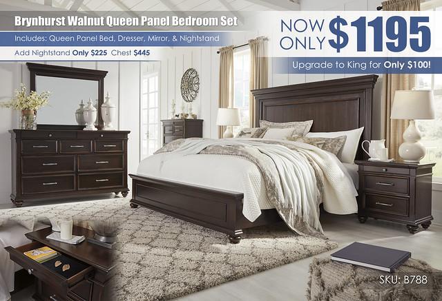 Brynhurst Walnut Queen Panel Bedroom Set_B788-31-36-46-58-56-97-93_May_2021