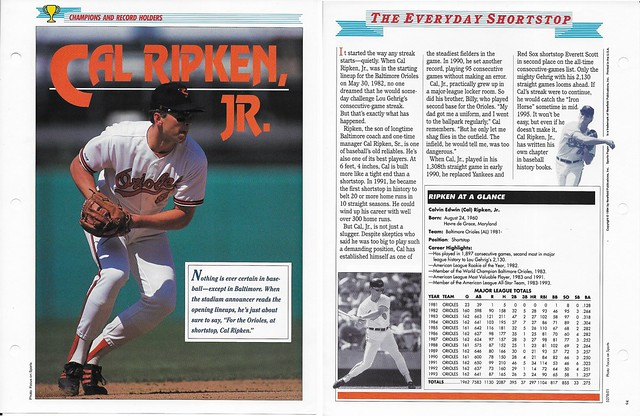1994 Newfield Sports Pages - Champions and Record Holders - Ripken Jr, Cal