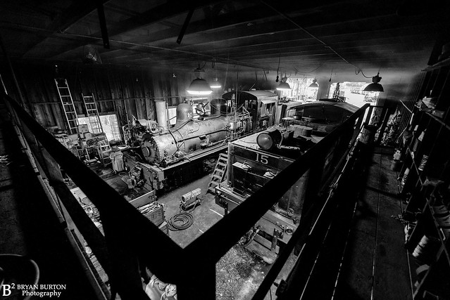 Inside the engine house with Shays 15 and 10, 5/3/21.