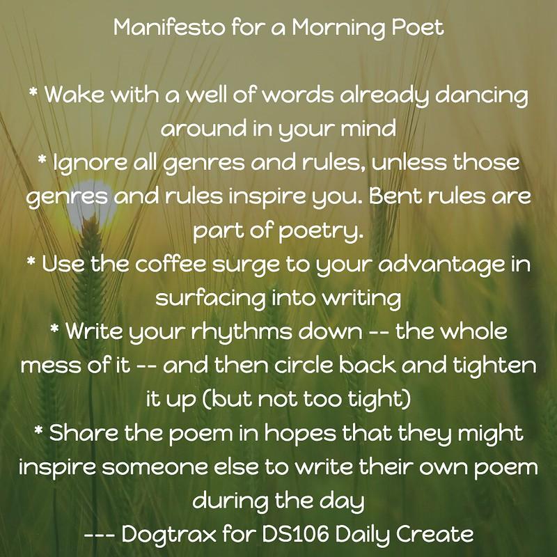 Manifesto/Credo for Morning Poets