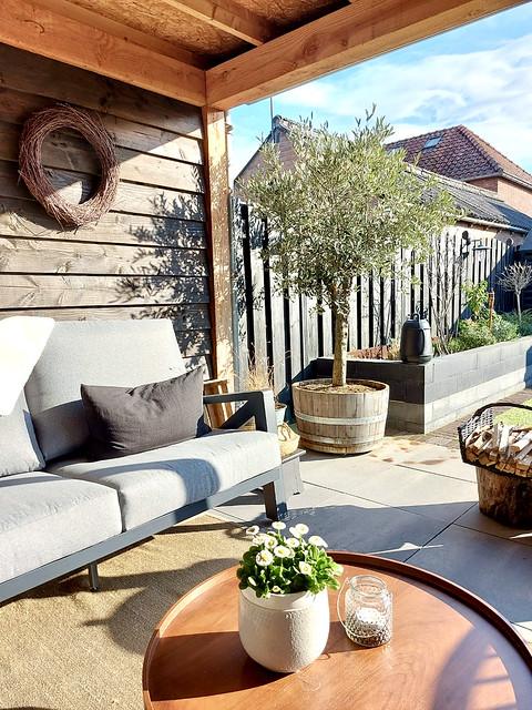 Grijze loungeset olijfboom in wijnvat terras bloembak grote krans veranda